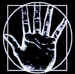 logo-du-cabinet-d'ostéopathie-de-cébazat-de-Basile-Naegelen-avec-une-main-reprenant-l'Homme-de-Vitruve-en-blanc