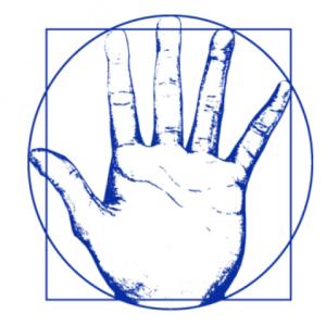 logo-du-cabinet-d'ostéopathie-de-cébazat-de-Basile-Naegelen-avec-une-main-reprenant-l'Homme-de-Vitruve
