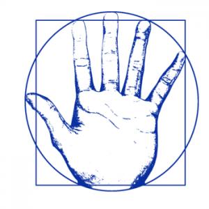 logo-du-cabinet-d'ostéopathie-de-cébazat-de-Basile-Naegelen-avec-une-main-reprenant-l'Homme-de-Vitruve-en-bleu