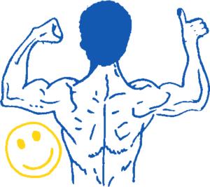 dessin d'un dos musclé pour éviter les douleurs de dos. Conseils ostéopathe à Cébazat